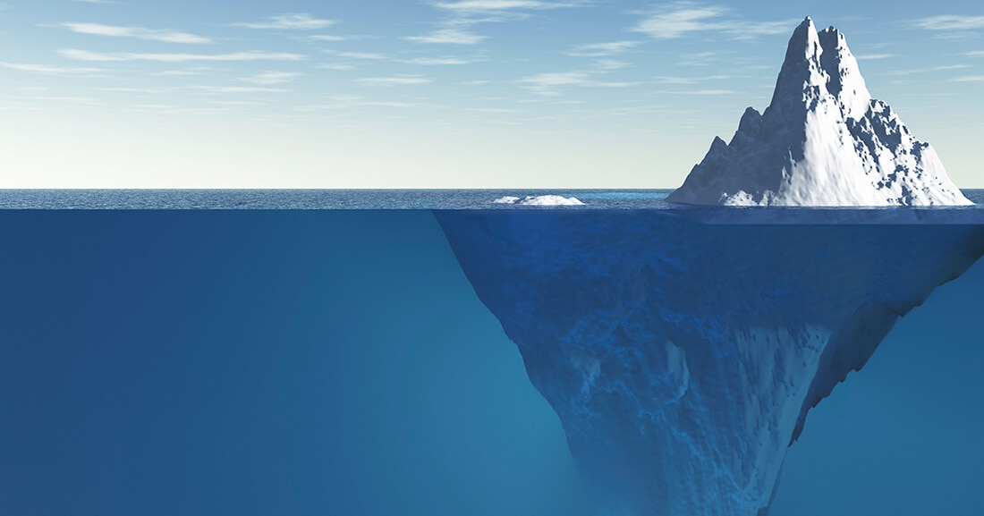 iceberg on surface and underwater