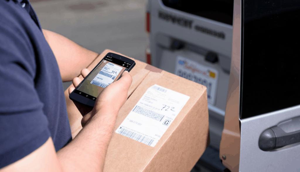 worker scanning barcode