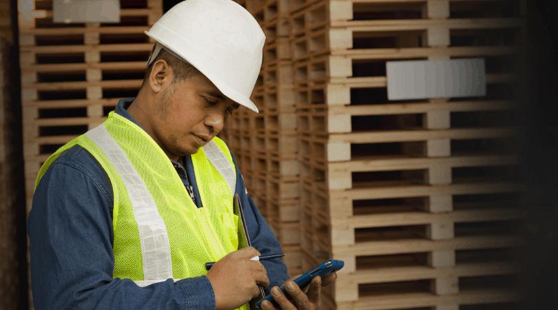 worker using smartphone