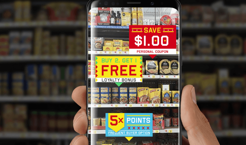 product offers on smarphone screen