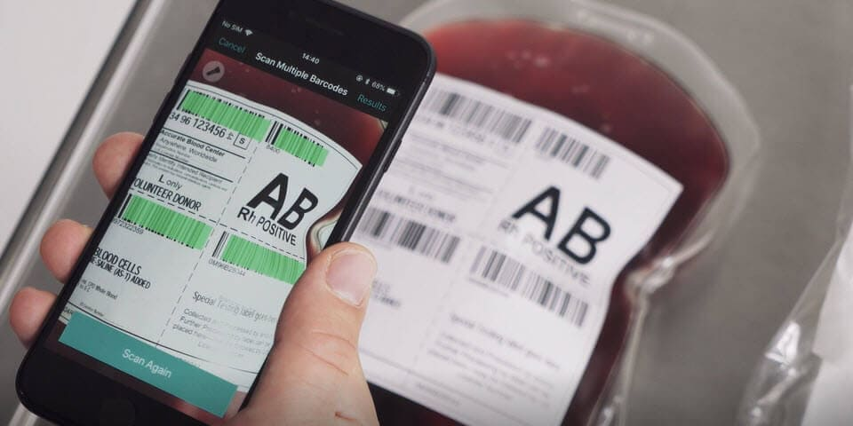 scan blood bag barcodes