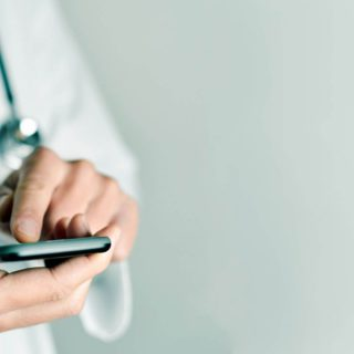 doctor using smarphone
