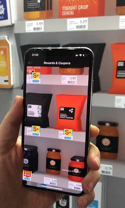 Point device camera at shelf and easily discover personalized deals, recommendations or best sellers all with augmented reality