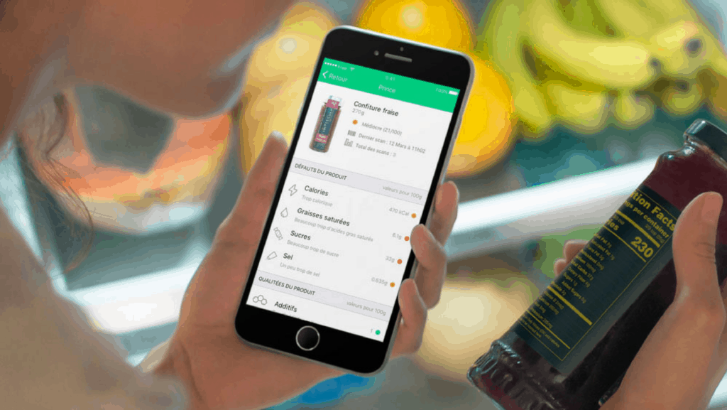 reading product details on smartphone