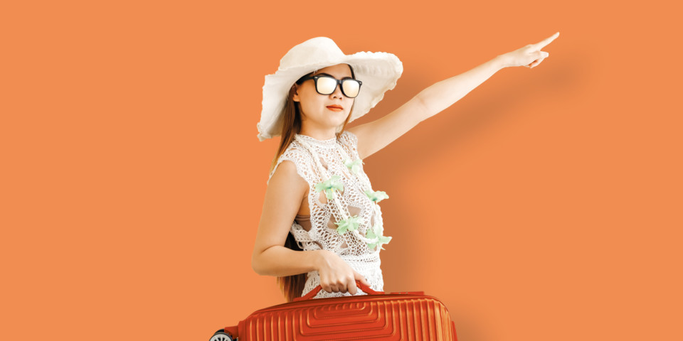 woman ready for airtravel