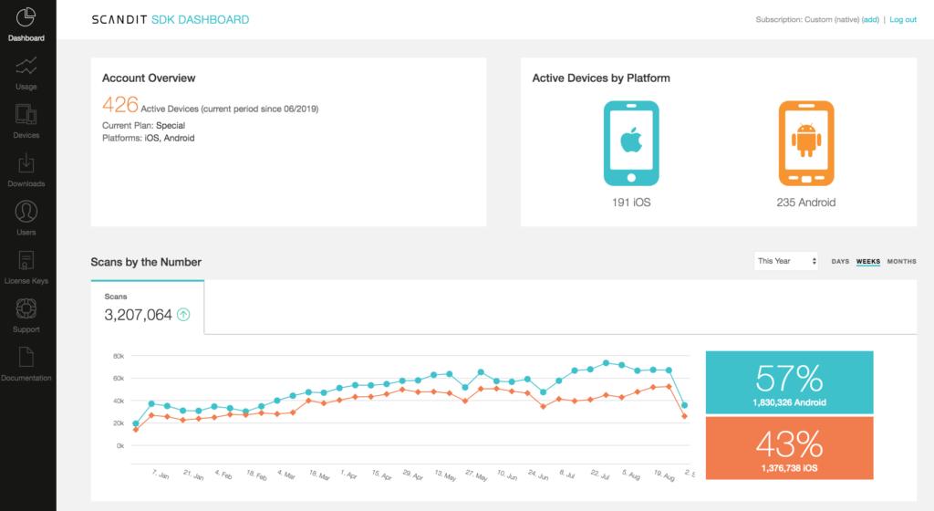 scandit sdk dashboard screenshot