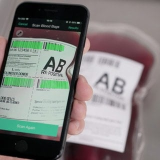 scan blood bag with smartphone