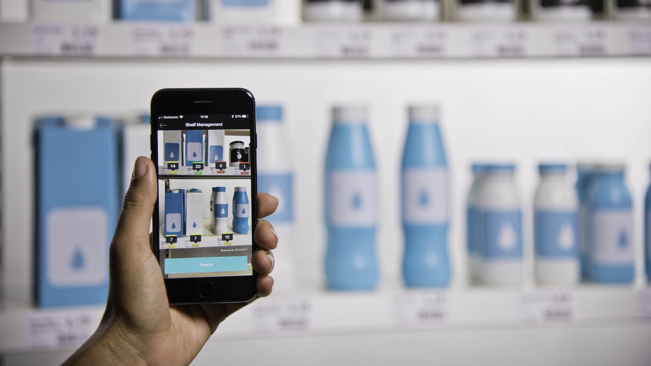 Barcode canning technology capturing multiple barcodes of an entire shelf in a single scan.
