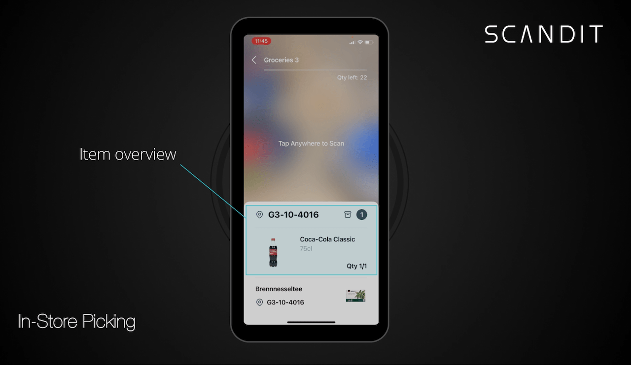 In-store picking app: item appears on the screen