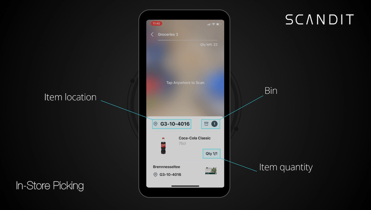 In-store picking app with item information displayed on the screen