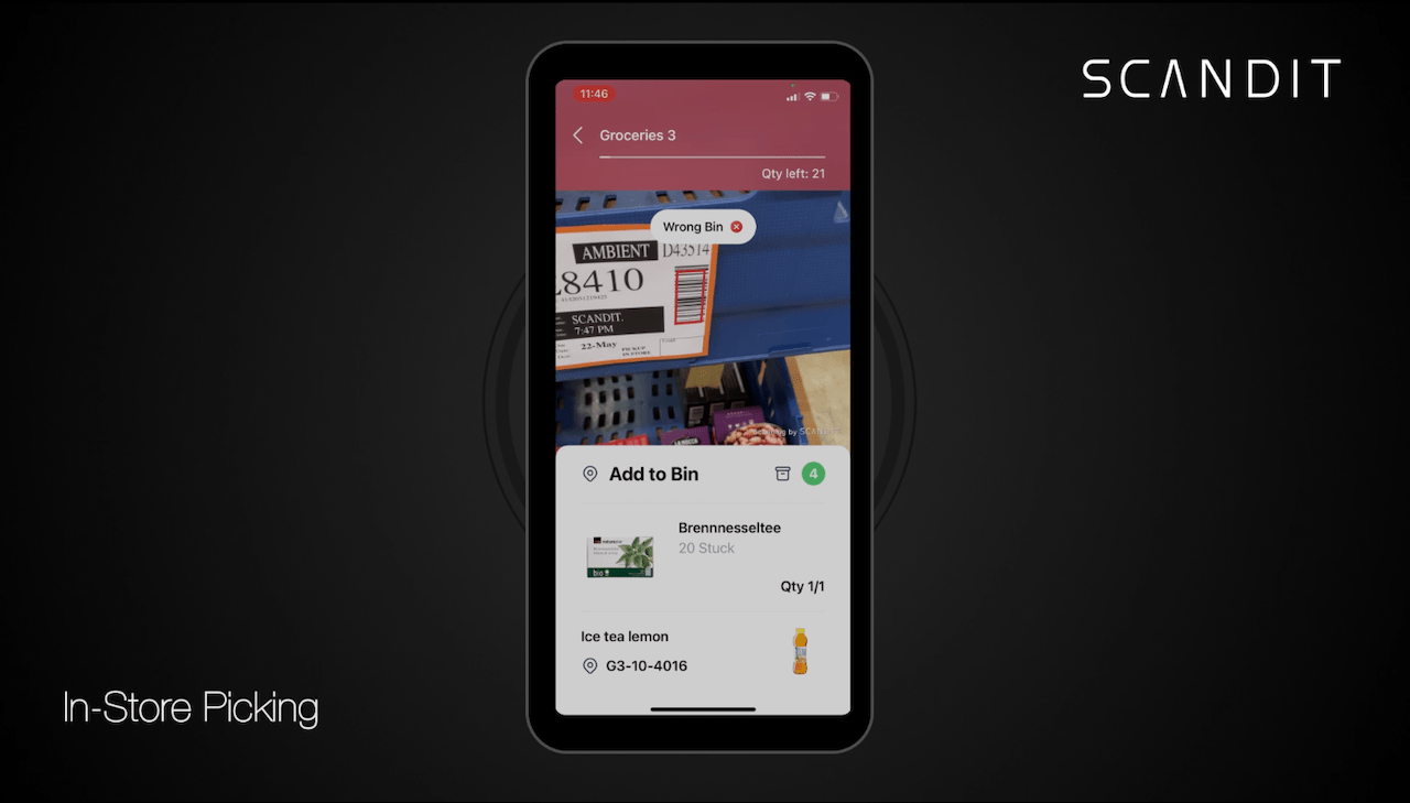 In-store picking app alerting for placing an item in the wrong bin