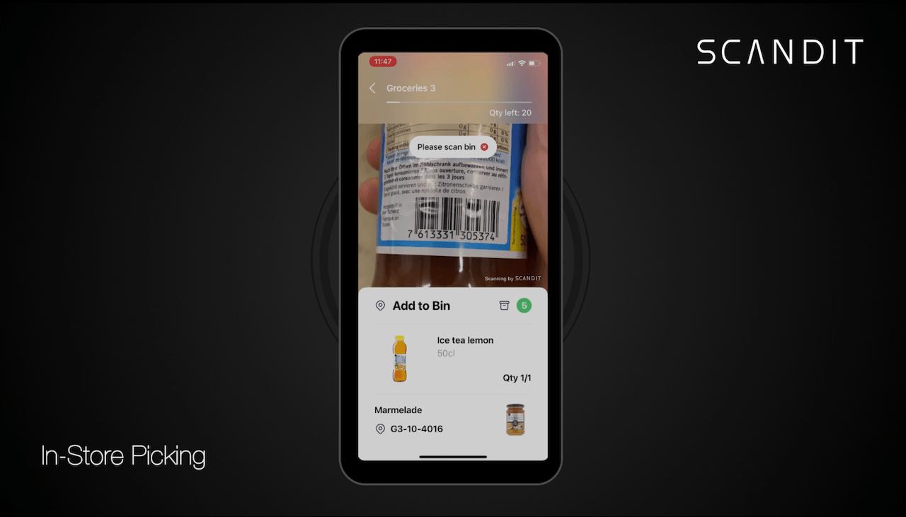 In-store picking app sending alert for scanning the same item twice